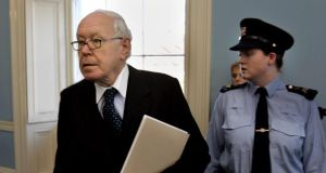 Mr Justice  Peter Smithwick arriving at the Tribunal. Photograph: Matt Kavanagh/The Irish Times.