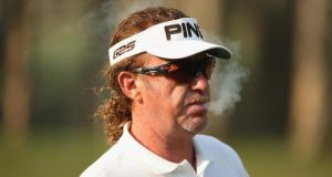 Miguel Angel Jimenez during the pro-am in Hong Kong. Photograph: Ian Walton/Getty Images