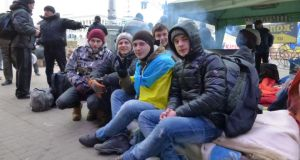 Young protesters from western Ukraine on Kiev's Independence Square. From left, Yaroslav Dishuk, Yura Bilyarski, Michael Danysko, Andrei Andruseikin, Oleg Voitko. Photograph: Daniel McLaughlin