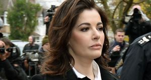 Nigella Lawson arriving at court  to give evidence in the case two of her former personal assistants, Elisabetta and Francesca Grillo. Photograph: Andrew Matthews/PA Wire