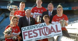 At yesterday's announcement of details for the Queen's Festival were: (from left) Caroline O'Hanlon, Armagh and QUB, Walter Walsh, Kilkenny and UCD, Pat Quill, president of the Ladies Gaelic Football Association, Bryan Menton, Meath and DIT, Aileen Lawlor, president of the Camogie Association, GAA president Liam Ó Néill and Grace Walsh, Kilkenny and UL. Photograph: Matt Browne/Sportsfile