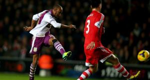 Fabian Delph scores  Aston Villa's winning goal against Southampton  at St Mary's Stadium last night. Photograph:   Bryn Lennon/Getty Images