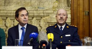 Minister for Justice Alan Shatter and Garda Commissioner Martin Callinan  speaking about the Smithwick report yesterday. Photograph: Alan Betson