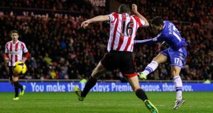 Eden Hazard scores his second goal for  Chelsea against Sunderland at the Stadium of Light last night. Photograph: Paul Thomas/Getty Images.