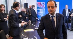 French president Francois Hollande  is struggling to live up to a pledge to get unemployment firmly on a downward trend by year end. Photograph: Etienne Laurent/Reuters