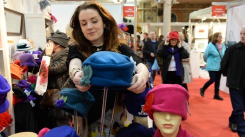 Karen O'Connor at the Mad 4 Hats stand at the opening of the National Crafts & Design Fair at the RDS, Dublin, running until Sunday, December 8th. Photograph: Dara Mac Dónaill/The Irish Times