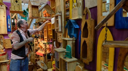 Paul Slattery of Rustic Works at the crafts fair.Photograph: Dara Mac Dónaill/The Irish Times