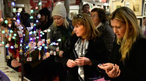 Shoppers investigate the goodies on display. Photograph: Dara Mac Dónaill/The Irish Times