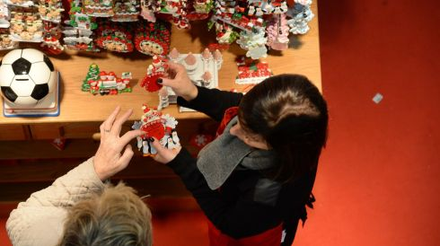Comparing Christmas trinkets. Photograph: Dara Mac Dónaill/The Irish Times