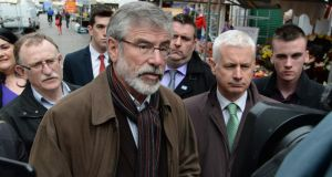 Sinn Féin president Gerry Adams has moved to distance himself from earlier remarks in which he suggested a casual approach to security by two RUC officers shot dead by the IRA in 1989 had contributed to their murders. Photograph: Cyril Byrne/The Irish Times.