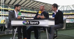 Craig Doyle, BT Sport rugby presenter talks to pundits Lawrence Dallaglio and Austin Healey during an Aviva Premiership match at Twickenham Stadium last September. British Telecom's deal is in direct conflict with ERC's renewed deal with BT's broadband rivals Sky. Photograph: Getty Images