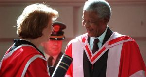 Former president Mary McAleese with Nelson Mandela at a ceremony in Trinity College on April 11th, 2000, when he was conferred with honorary degrees from The University of Dublin. Photograph: Eric Luke.