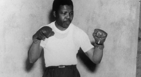 Nelson Mandela adopts a boxing pose  circa 1950. Photograph: Keystone/Hulton Archive/Getty Images