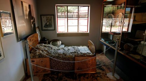 A general view of Nelson Mandela's bedroom and the blanket, that was given to Mandela in Qunu when he became a man, as he is from Royal family line, displayed in the Mandela House, Soweto, Johannesburg.  EPA/KIM LUDBROOK