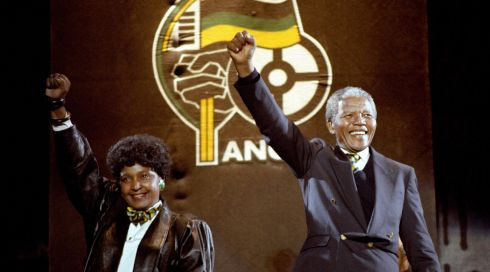 Nelson Mandela, with wife Winnie, giving the famous clench-fist saltue of the African National Congress. PA Wire