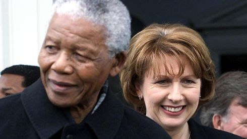 Former president Mary McAleese with Nelson Mandela, during his visit to Dublin. Chris Bacon/PA Wire