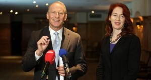 Road map for progress: Dr Richard Haass, with Harvard professor Meghan O'Sullivan, speaking to the media  in Belfast. Photograph: Paul Faith/PA Wire