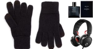 Black lambswool touchscreen gloves, €21 at Topman (£14 at topman.com); Bleu de Chanel eau de toilette, €59.50 for 50ml; Philips noise-cancelling headphones, €199.99, come with microphone, volume and track control for your mobile