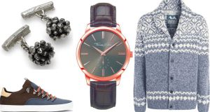 Eily O'Connell mace cufflinks, €190 at Coldlilies.com; Zara's trekking trainers, €49.95; Thomas Sabo watch, €239; grey Fairisle patterned cardigan, €75 by Mantaray at Debenhams
