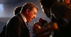 England manager Roy Hodgson reacts to yesterday's World Cup draw. Photograph: Clive Mason/Getty Images