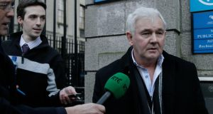 John Gilligan speaking about reported threats to his life at the Four Courts yesterday. Photograph: Collins Courts.