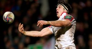 Ulster's Sean Doyle celebrates scoring his side's fifth try. Photograph: James Crombie/Inpho
