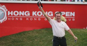 Miguel Angel Jimenez celebrates after winning the Hong Kong Open. Photograph: Ian Walton/Getty Images
