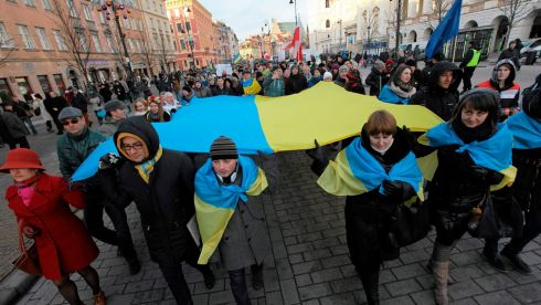 Demonstrators in Warsaw, Poland, show solidarity with the Ukrainian protesters. Photograph: Slawomir Kaminski/Agencja Gazeta/Reuters