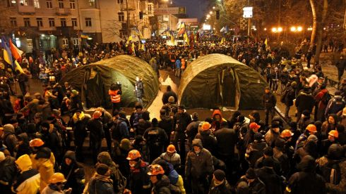 Tents amid the Kiev rally crowd. Photograph: Vasily Fedosenko/Reuters