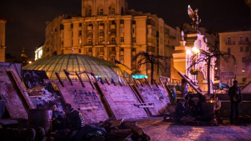 Anti-government protesters camp on Independence Square. Photograph: Brendan Hoffman/Getty Images