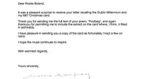 A letter from Charles Haughey to Rosita Boland in 2000