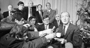 Charles Haughey at a press conference in Dublin Airport in December 1988. Photograph: Eddie Kelly