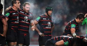 Toulouse captain  Thierry Dusautoir with his pack during the Heineken Cup defeat to Connacht. Photograph: Remy Gabalda/AFP/Getty Images.