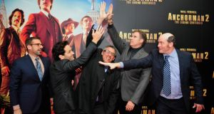 Steve Carrell, Paul Rudd, director Adam McKay, Will Ferrell and David Koechner from Anchorman 2 at the Irish premier of the film in the Savoy Cinema. Photograph: Aidan Crawley