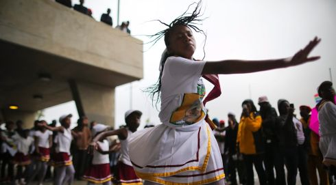 Young South African girls dance during the ceremony. Photograph: EPA/Dai Kurokawa