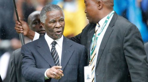 Former South African president Thabo Mbeki (L) arrives at the FNB Stadium in Johannesburg. Photograph: EPA/Kim Ludbrook