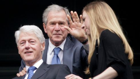Former US presidents Bill Clinton (L) and George W. Bush (C), and Clinton's daughter Chelsea. Photograph: EPA/Dai Kurokawa