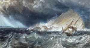 A ship against the Mew Stone, at the entrance to Plymouth Sound (1814), by JMW Turner (1775-1851)