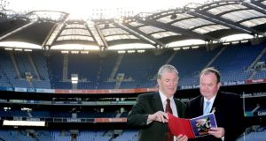 GAA president Liam O'Neill and Chairman of the  Football Review Committee (FRC) Eugene McGee: The FRC would have become aware that there is a huge interest in the whole business of fixing the inter-county season. Photograph: Ryan Byrne/Inpho