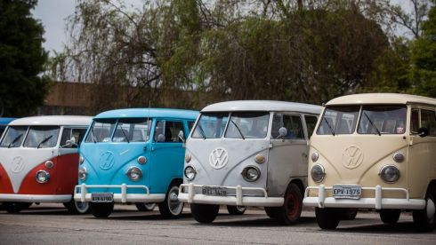 A line-up of Kombis from the various eras of its production, which stretches back 63 years.