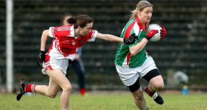 Carnacon's Cora Staunton in action against  Donaghmoyne during the All-Ireland senior club football final in which see scored 1-5 in helping her club regain the title. Photograph: Inpho