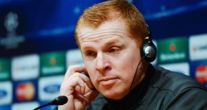Celtic manager Neil Lennon faces the media ahead their Uefa Champions League Group H match against FC Barcelona. Photograph: David Ramos/Getty Images
