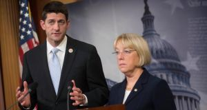 Representative Paul Ryan, a Republican from Wisconsin (left) speaks as Patty Murray, a Democrat from Washington, looks on during a news conference at the US Capitol in Washington.  Photograph: Andrew Harrer/Bloomberg