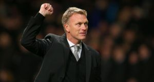 Manchester United manager David Moyes celebrates victory after the final whistle  at Old Trafford. Photograph: Dave Thompson/PA Wire
