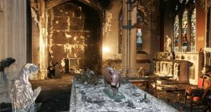 The fire damage in St Catherine's Church, on Meath Street, Dublin, pictured in 2012. Photograph: Dara Mac Dónaill