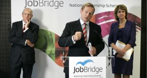 Enda Kenny,  Minister for Social Protection Joan Burton and Martin Murphy, MD of HP Ireland and chair of the steering group on JobBridge, at the launch of the JobBridge initiative