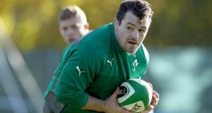 Cian Healy: tweeted a picture of himself with his heavily bandaged angle encased in a plastic cast. Photograph: Dan Sheridan/Inpho