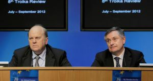 Minister for Finance Michael Noonan  and Minister for Public Expenditure and Reform Brendan Howlin during the eighth troika July-September 2012 review press conference in the Government press centre