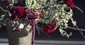 Seasonal arrangement by garden designer and florist Mark Grehan