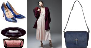Blue snakeskin stilettoes, €245 by Lucy Choi at Seagreen; Versace's Crystal Noir eau de toilette, €43 for 30ml at Boots; River Island's bouclé coat, €120, comes in cream, baby pink and (pictured) a rich raspberry; Whistles Limited calf-hair satchel, €490